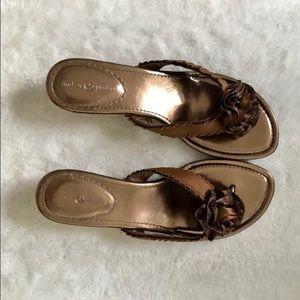 Lindsay Phillips metallic wedge heel